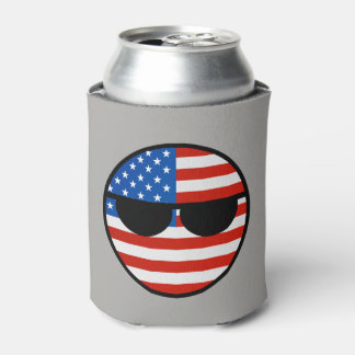 Funny Trending Geeky USA Countryball Can Cooler