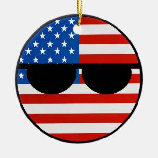 Funny Trending Geeky USA Countryball Christmas Ornament