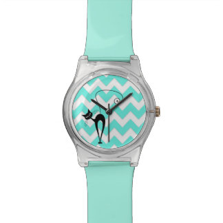 Funny trendy chevron cat wristwatches