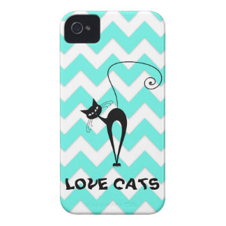 Funny trendy chevron love cats iPhone 4 Case-Mate case