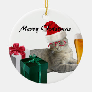 Funny trendy Christmas Santa cat with beer Christmas Ornament