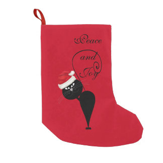 Funny Trendy cute Santa cat Christmas holiday Small Christmas Stocking