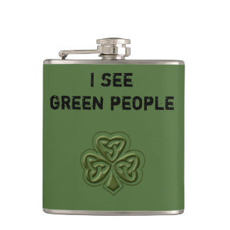 Funny trendy green Irish lucky shamrock joke Hip Flask
