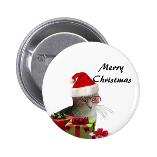 Funny trendy Santa wise cat Christmas 6 Cm Round Badge