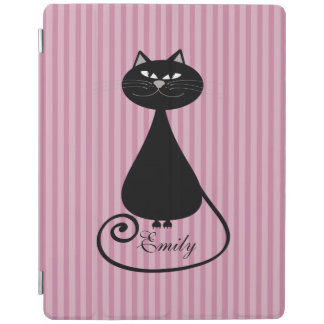 Funny trendy whimsical cartoon cat personalized iPad cover
