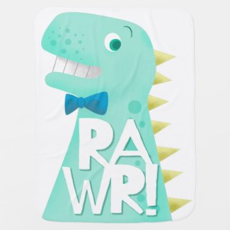 Funny Trex Dinosaur RAWR Baby Blanket