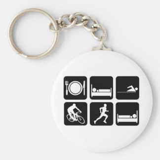 Funny triathlon basic round button key ring