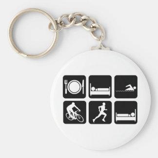 Funny triathlon basic round button key ring