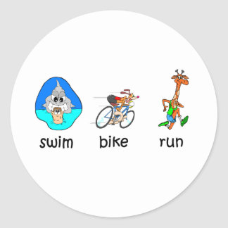 Funny triathlon classic round sticker