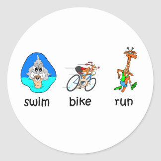 Funny triathlon round sticker