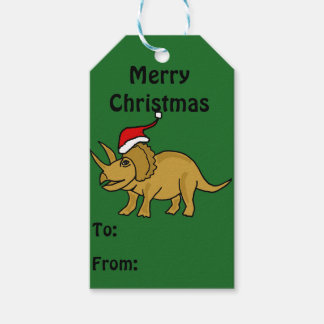 Funny Triceratops Christmas Gift Tags