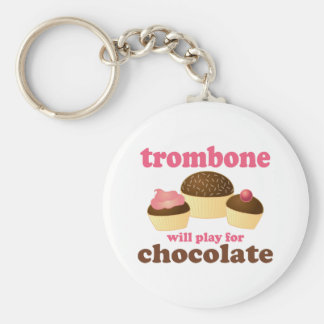 Funny Trombone Will Play for Chocolate Basic Round Button Key Ring