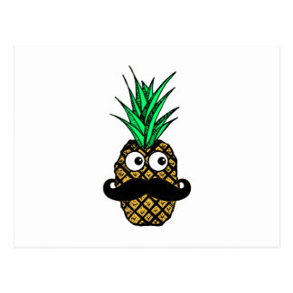 Funny Tropical Pineapple with Googly Eyes Mustache Postcard