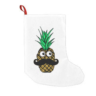 Funny Tropical Pineapple with Googly Eyes Mustache Small Christmas Stocking