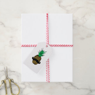 Funny Tropical Pineapple with Mustache Gift Tags