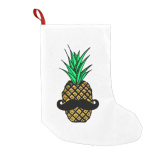 Funny Tropical Pineapple with Mustache Small Christmas Stocking