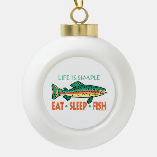 Funny Trout Fishing Ceramic Ball Christmas Ornament