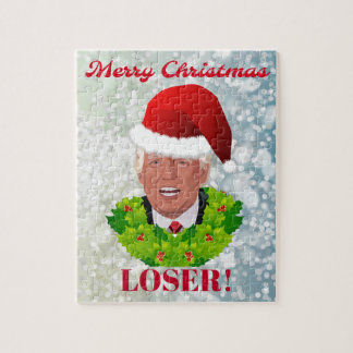 "Funny Trump ""Merry Christmas Loser"" Jigsaw Puzzle"
