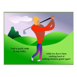 Funny Trump Playing Golf Political Postcard