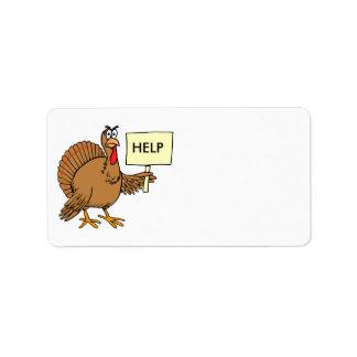 Funny Turkey Thanksgiving Address Stickers Help Address Label