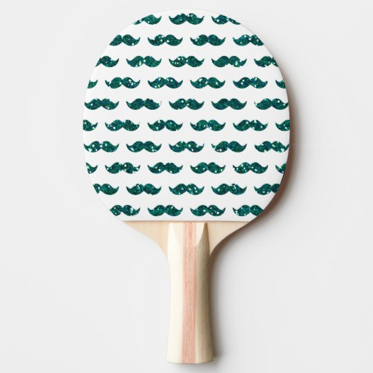 Funny Turquoise Glitter Moustache Pattern Printed Ping Pong