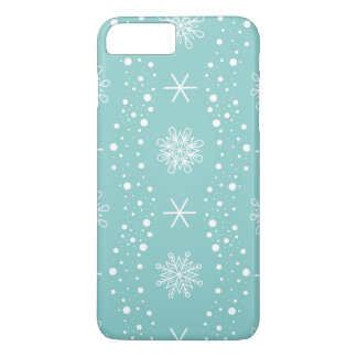 Funny Turquoise Snowflakes Pattern iPhone 8 Plus/7 Plus Case