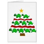 Funny Turtle Art Christmas Tree Design Greeting Card