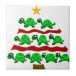 Funny Turtle Art Christmas Tree Design Small Square Tile