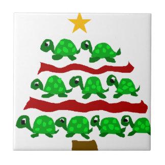 Funny Turtle Art Christmas Tree Design Tile