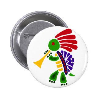 Funny Turtle Dancing Kokopelli Style 6 Cm Round Badge