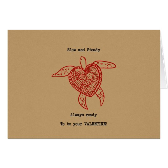 Funny Turtle Heart Valentine's Card