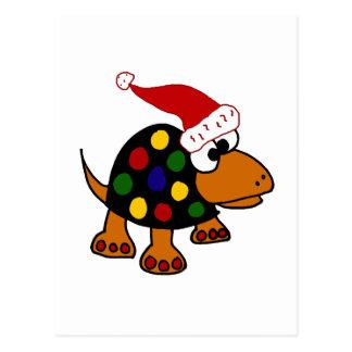 Funny Turtle in Santa Hat Christmas Art Postcard