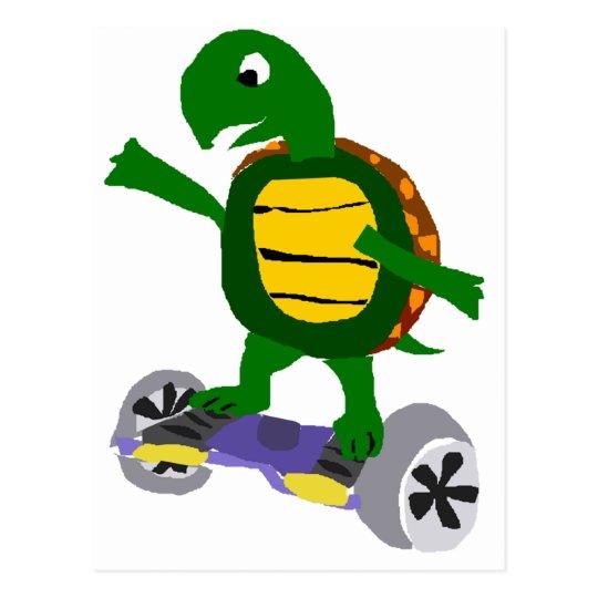 Funny Turtle on Hoverboard Original Art Postcard