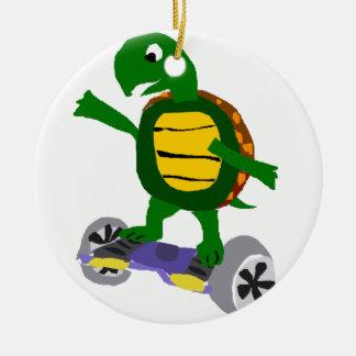 Funny Turtle on Hoverboard Original Art Round Ceramic Decoration