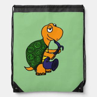Funny Turtle Playing the Saxophone Drawstring Bag