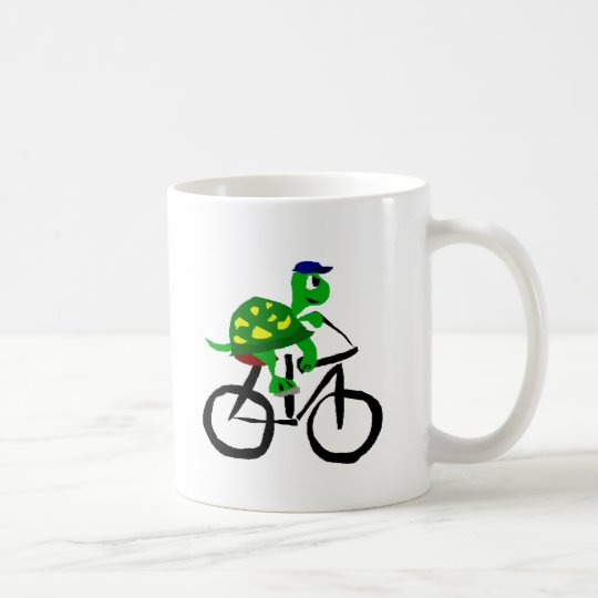 Funny Turtle Riding Bicycle Coffee Mug