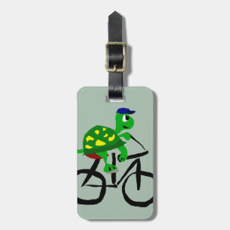 Funny Turtle Riding Bicycle Luggage Tag
