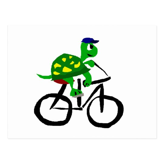 Funny Turtle Riding Bicycle Postcard