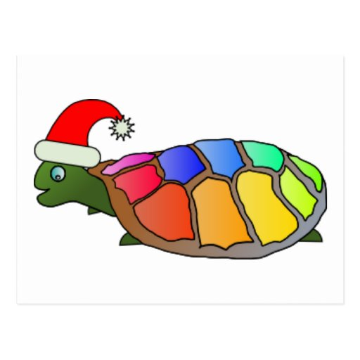 Funny Turtle with Santa Hat Postcard