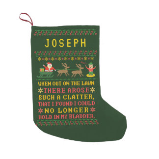 Funny Twas the Night Before Christmas Personalized Small Christmas Stocking