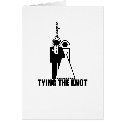 "Funny, ""Tying the knot"" wedding design Cards"