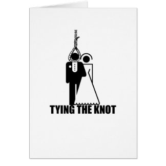 Funny Tying the knot wedding design Cards
