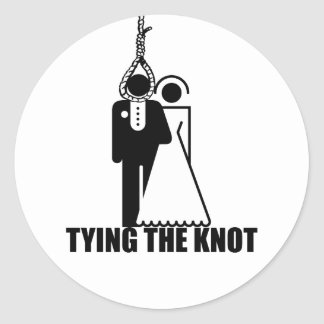"Funny, ""Tying the knot"" wedding design Round Sticker"