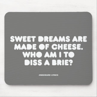 Funny typographic misheard song lyrics mouse mat