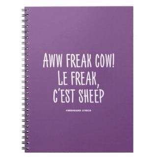 Funny typographic misheard song lyrics notebooks
