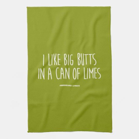 Funny typographic misheard song lyrics tea towel
