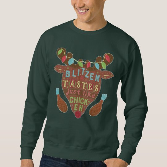 Funny Ugly Christmas Sweater Blitzen Reindeer Joke
