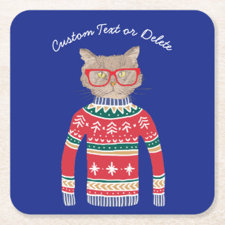 Funny Ugly Christmas Sweater, Cat Wearing Glasses Square Paper Coaster