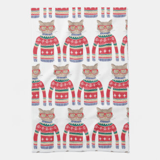 Funny Ugly Christmas Sweater, Cut Cat Lover Tea Towel