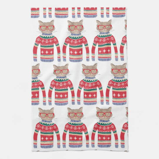 Funny Ugly Christmas Sweater, Cut Cat Lover Tea